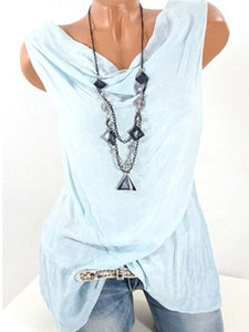 Women  Cowl Neck  Plain Sleeveless T-Shirts