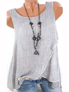 Women  Round Neck Asymmetric Patchwork Plain Sleeveless Blouses