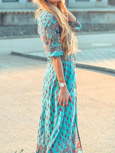 V Neck  Single Breasted Slit  Print Maxi Dress