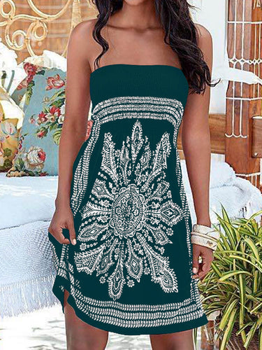 Off Shoulder  Printed Shift Dress