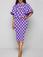 Tie Collar  Polka Dot Bodycon Dress Purple Charming