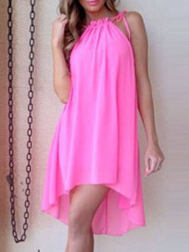 Asymmetric Neck  High-Low Shift Dress