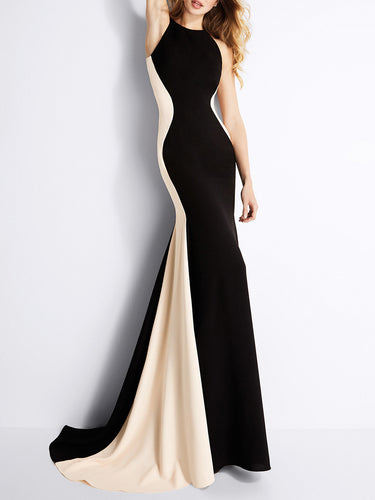 Crew Neck  Patchwork  Fishtail Hem  Evening Dress