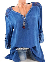 V-Neck  Decorative Lace  Decorative Button Long Sleeve T-Shirts