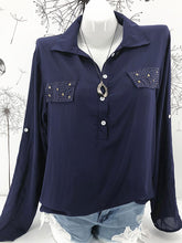 Turn Down Collar  Decorative Button Long Sleeve Blouses