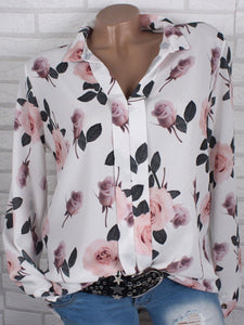 Turn Down Collar  Floral Printed  Long Sleeve Blouses