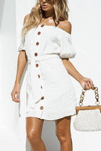 Off Shoulder  Single Breasted  Belt Casual Dresses
