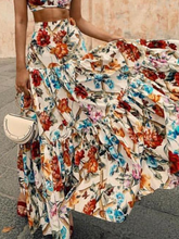 Sexy Off Shoulder Midriff-Baring Floral Printed Beach Dress