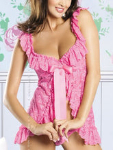 Square Neck Ruffled Sleepwear With Ribbon