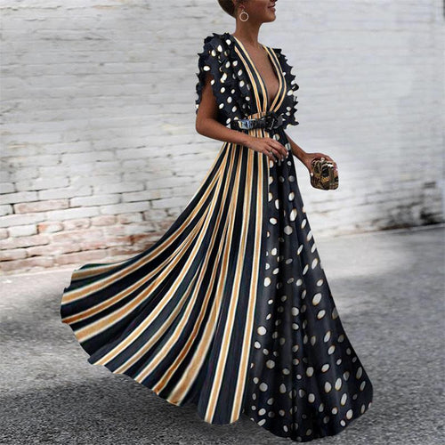 Deep V-Neck Printed Striped Polka-Dot Fashion Dress