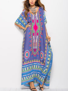 Printed batwing sleeve Casual Dresses