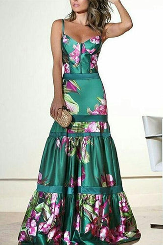 Sexy Floral Plunge Ruffles Layered Hem Fishtail Evening Dress
