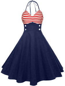 Lace-Up  Color Block Striped Vintage Dresses