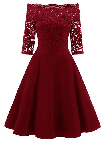Open Shoulder  Decorative Lace  Lace Vintage Dresses