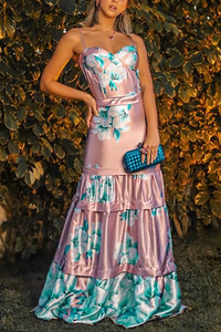 Sexy Sling Floral Printed Maxi Dress