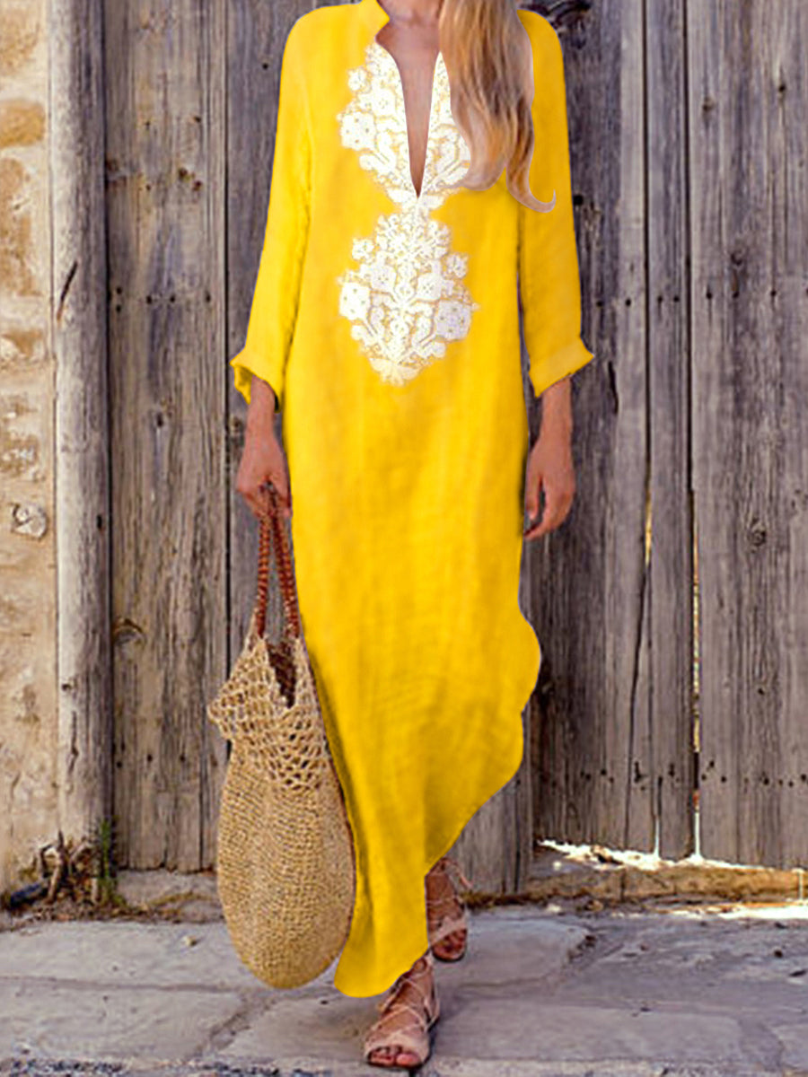 Fashionable Cotton V-Neck Yellow Casual Dress