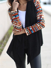 Asymmetric Hem  Printed  Long Sleeve Cardigans