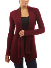 Collarless  Plain  Long Sleeve Cardigans