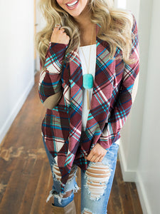 Patchwork  Plaid  Long Sleeve Cardigans