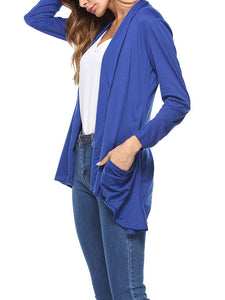 Collarless  Asymmetric Hem  Plain  Long Sleeve Cardigans