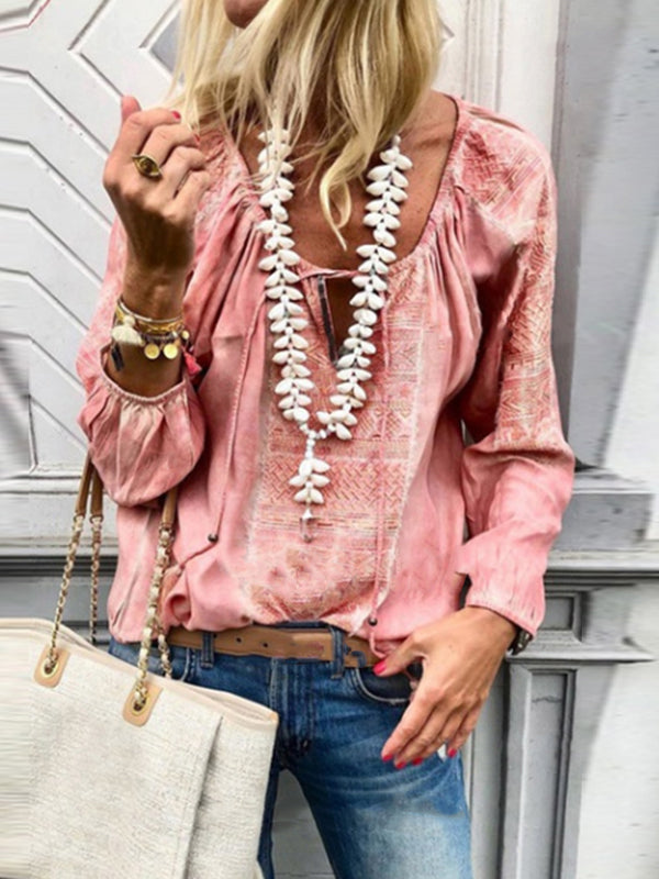 Lace Up Fashion V Neck  Long Sleeve Blouses