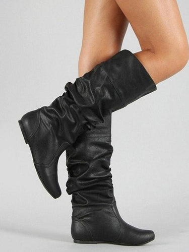 Heaped Round Toe Calf Boots