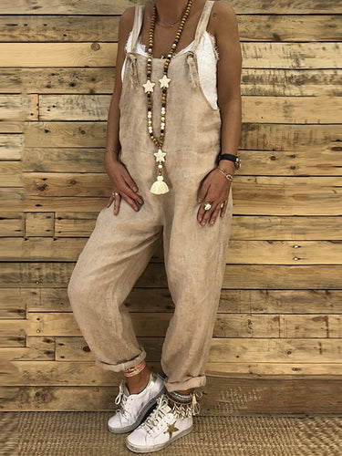 Loose Casual Linen Cotton Jumpsuits