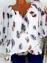 Tie Collar  Feather  Three-Quarter Sleeve Blouses