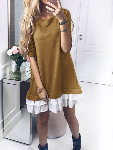 Long Sleeve Stitching Padded Dress