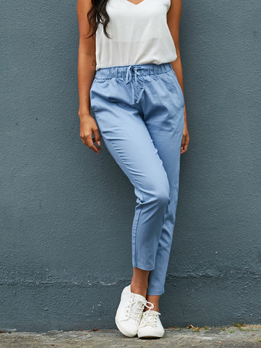 Solid Color Cotton And Linen Pants