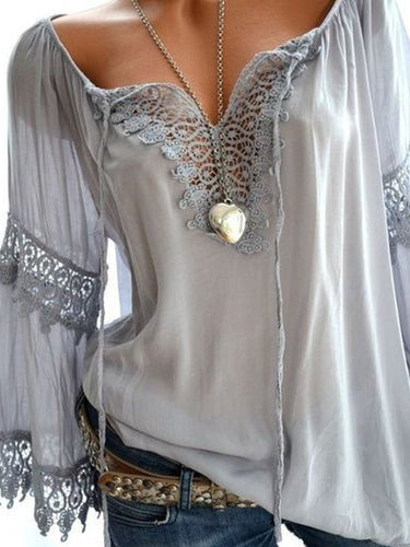 Tie Collar Decorative Lace Hollow Out Plain Long Sleeve Blouses