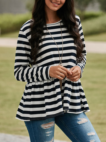 Fashion Striped Hem Pleated Long-Sleeved Top