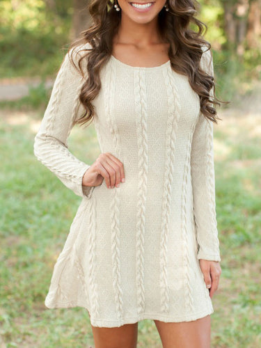 Solid Color Long Sleeve Slim Knit Dress