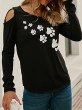 Footprint Printed Crossover Long Sleeve T-Shirt