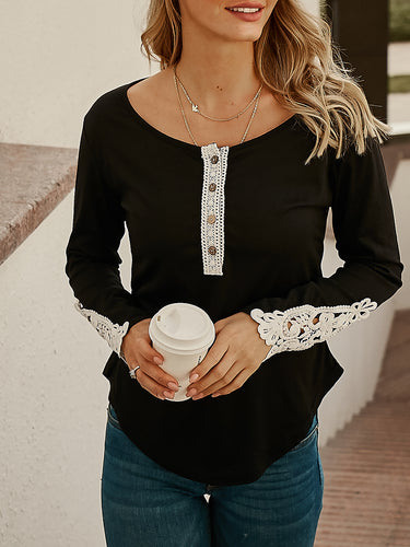 Lace Stitching Solid Color Long Sleeve T-Shirt