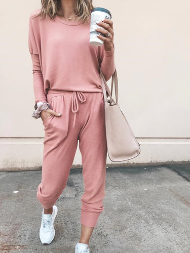 Fashion Casual Round Neck Sports Jumpsuit Suit
