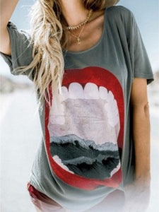 Lip Printed Round Neck Short Sleeve T-Shirt