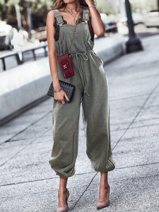 Fashion Pure Colour Sleeveless Belted Jumpsuits