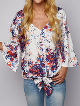 Lace-Up V-Neck Chiffon T-Shirt