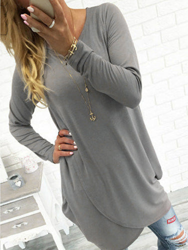 Solid Color Long Sleeve Cross Hem Dress