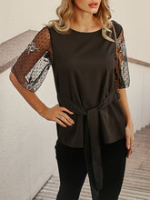 Embroidered Long-Sleeved Lace-Up Top T-Shirt