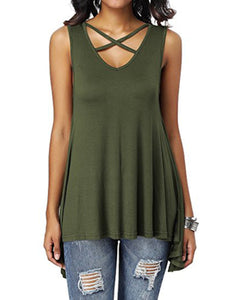 Front Chest Cross V-Neck Loose Irregular Vest T-Shirt
