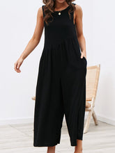 Solid Color Round Neck Sleeveless Stitching Jumpsuit