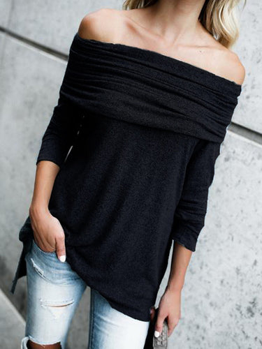 Black Off Shoulder Casual Blouses & Shirt