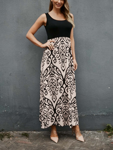 Vintage Print Sleeveless Long Dress