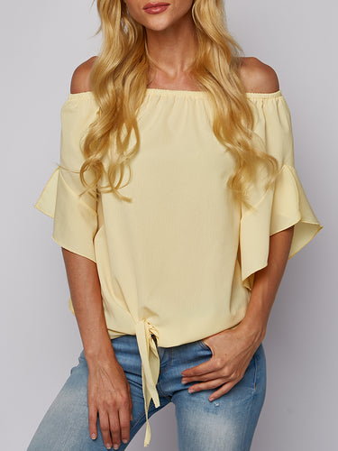 Off-The-Shoulder Flying Collar Chiffon Shirt