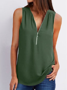 V-Neck  Zips  Plain  Sleeveless Blouses