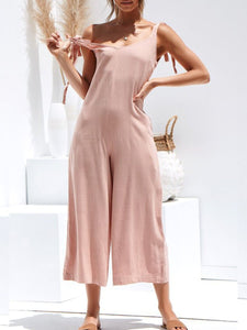 V-neck off-the-shoulder solid color sling jumpsuit