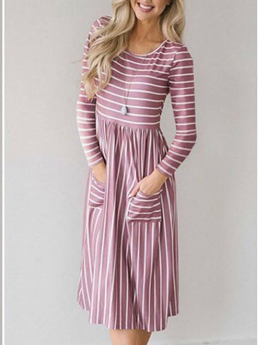 Striped Print Round Neck Long Sleeve Dress