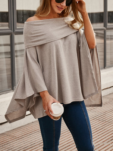 Solid Color One-Shoulder Knit Cloak